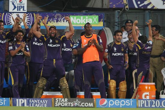 Kolkata players celebrate after winning the game.