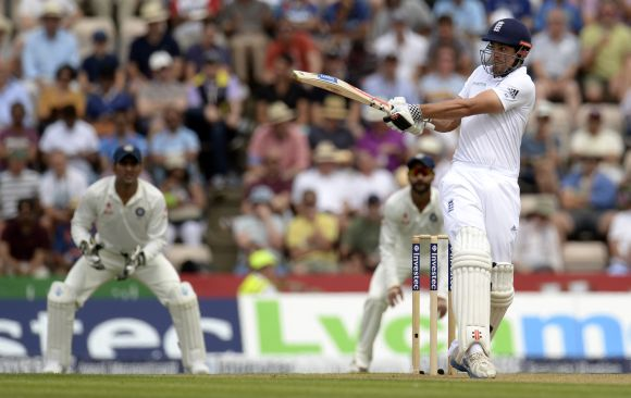 England's captain Alastair Cook hits out during the third cricket Test match against India
