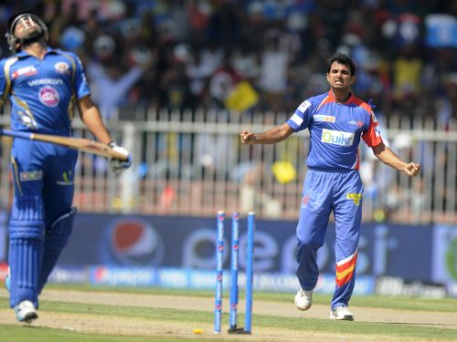 Mohammad Shami celebrates after getting the wicket of Rohit Sharma