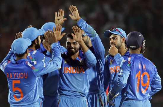 Ravindra Jadeja celebrates after picking up wicket