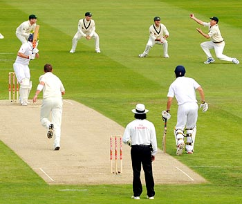 Andrew Strauss is caught by Marcus North in the slips
