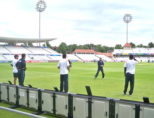 Team India during the fielding practice