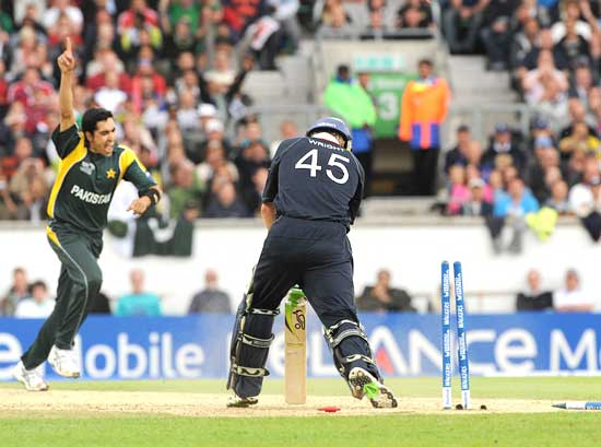Umar Gul celebrates after dismissing Luke Wright
