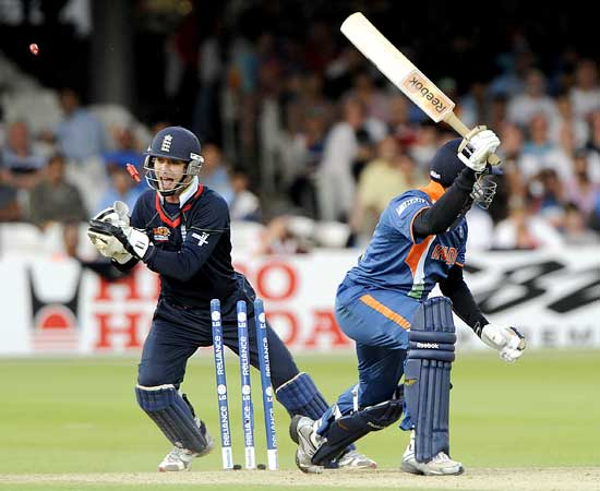 Yuvraj Singh is stumped by James Foster