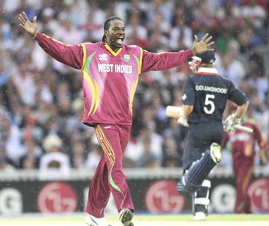 Chris Gayle celebrates after dismissing Ravi Bopara, LBW for 55