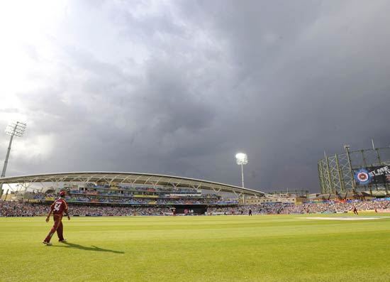 Rain stopped play twice and the target for West Indies had to be revised to 80 off 9 overs