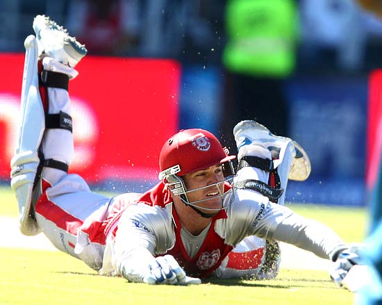 Luke Pomersbach of the Kings XI Punjab is run out by Herschelle Gibbs