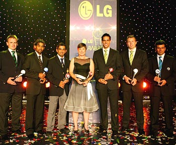 (Left to right): The Associate and Affiliate Player of the Year, William Porterfield of Ireland, The Twenty20 International Performance of the Year Award Winner, Tillakaratne Dilshan of Sri Lanka, The Test Player of the Year, Gautam Gambhir of India, The Women's Cricketer of the Year, Claire Taylor of England, The ICC Cricketer of the Year, Mitchell Johnson of Australia, The Emerging Player of the Year, Peter Siddle of Australia and The Umpire of the Year, Aleem Dar pose with their awards