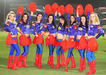 Cheerleaders dance during the match between the Daredevils and the Rajasthan Royals