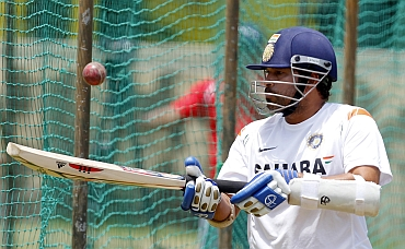 Sachin Tendulkar during a practice session