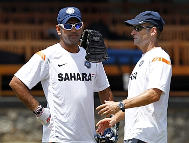 MS Dhoni with Gary Kirsten
