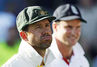 Ricky Ponting sports a dejected look after the first Ashes Test on Monday