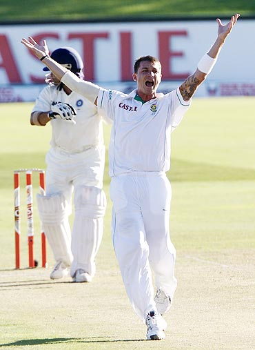 South Africa's Dale Steyn celebrates after dismissing India's Sachin Tendulkar