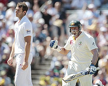 Hussey celebrates his century as Tremlett watches