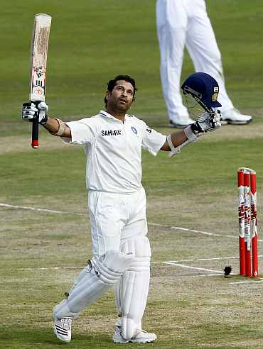 Sachin Tendulkar celebrates after reaching his 50th Test ton