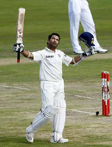Sachin Tendulkar after notching his 50th Test ton