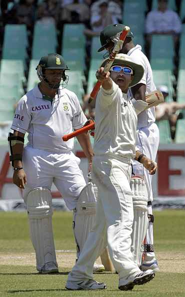 India's Sachin Tendulkar celebrates after India won their second Test against South Africa at Kingsmead Stadium in Durban