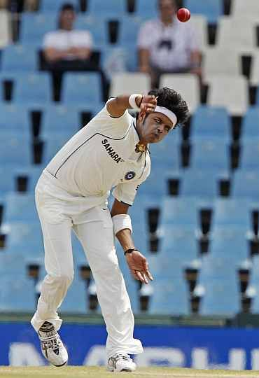 S Sreesanth bowls during the second Test against South Africa in Durban, December 29, 2010. Photograph: Reuters