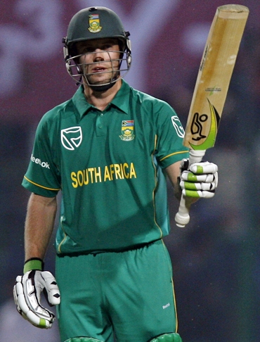 AB de Villiers celebrates after registering a hundred