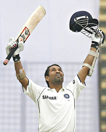 Sachin Tendulkar thanks the almighty after completing his 44th Test hundred