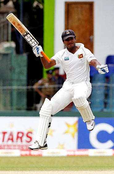 Sangakkara celebrates after scoring a double century