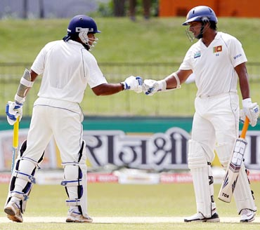 Kumar Sangakkara (right) with Mahela Jayawardene