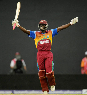 Andre Fletcher celebrates after winning the match