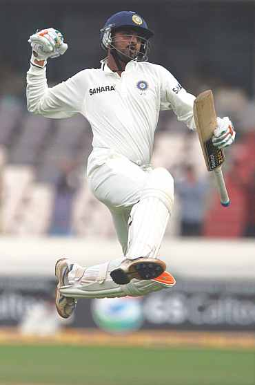 Harbhajan Singh celebrates after reaching his century in Hyderabad