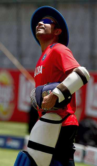 India's Virender Sehwag during a practice session in Mumbai