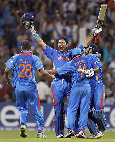 Yuvraj Singh celebrates after winning the World Cup