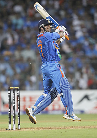 Mahendra Singh Dhoni during his knock in the World Cup final