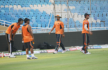 Players from Pune Warriors at a training session on Tuesday