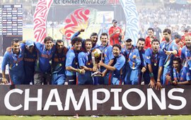 The victorious Indian team with the World Cup
