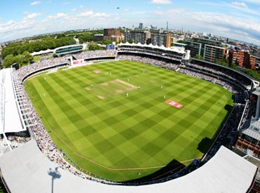 An aerial view of the Lord's cricket ground in London