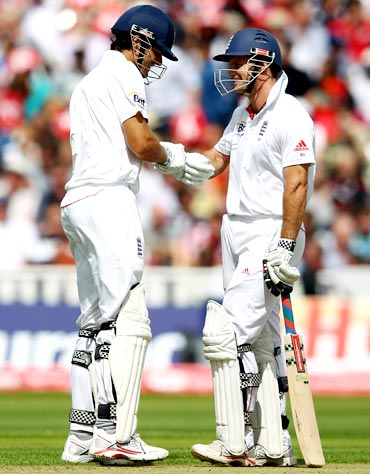 Andrew Strauss (right) with Alastair Cook