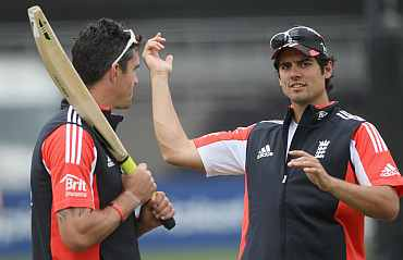 Alastair Cook and Kevin Pietersen during a practice session