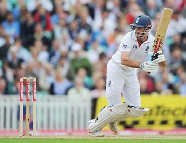 Andrew Strauss plays the ball on the leg side