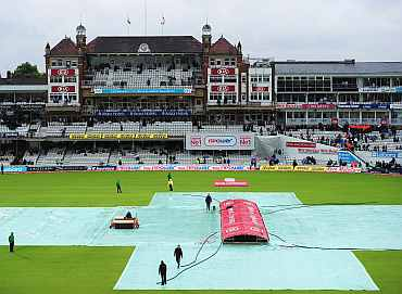 Covers on the field as the days play is called off