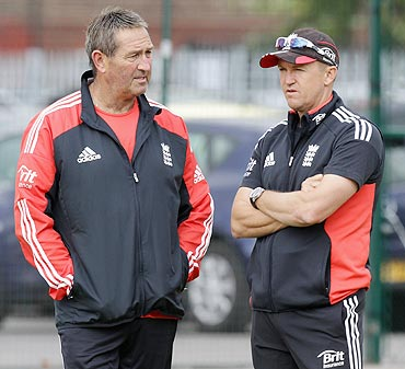 England's batting coach Graham Gooch with team coach Andy Flower