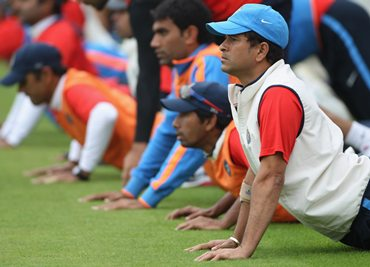 Team India players go through a drill during a practice session