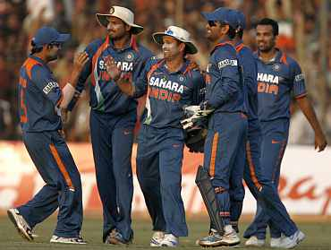 Indian team celebrates after winning a match