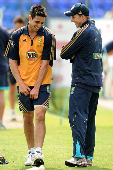 Mitchell Johnson and Brett Lee