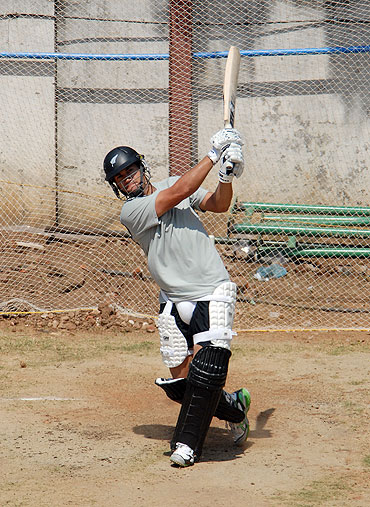 Ross Taylor at a batting practice session in Chennai on Monday