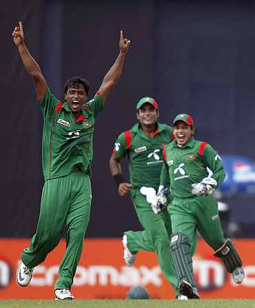 Bangladesh players celebrate after picking up a wicket
