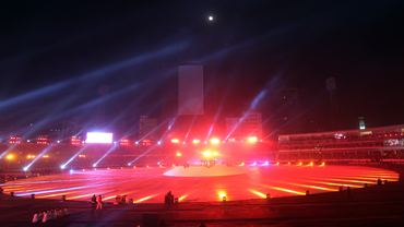 The Bangabandhu National Stadium is illuminated by laser during opening ceremony