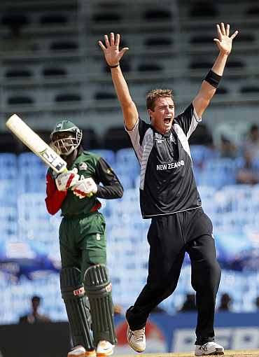 Tim Southee appeals for a wicket during his World Cup match against Kenya