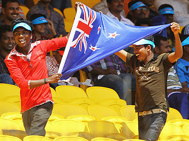Indian fans show their support for NZ during their Group A match against Kenya on Sunday