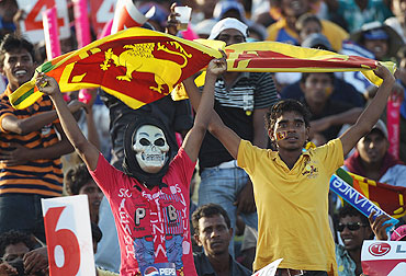 Sri Lanka fans show their colours during the match vs Canada on Sunday