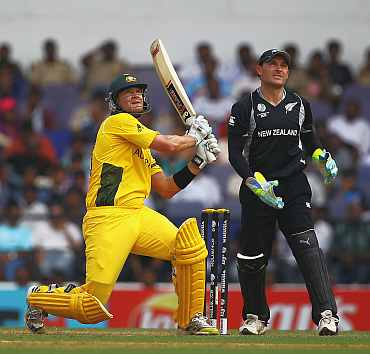 Shane Watson launches into a slog