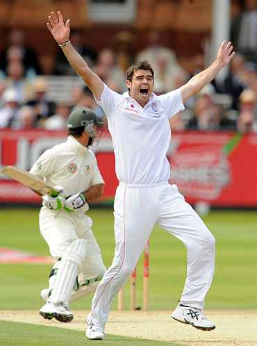 James Anderson celebrates after picking up Ricky Ponting